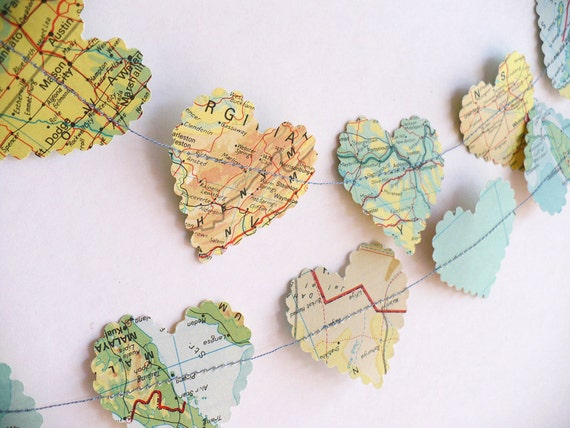 romantic heart world map paper garland   - wedding decoration, vintage paper hearts, party decoration, pale greens
