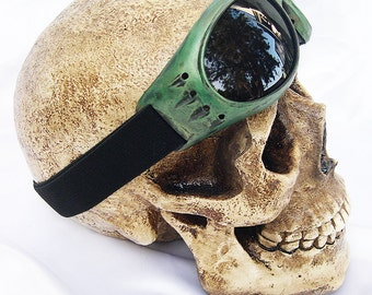 Emerald 'Electric Green' Distressed-Look 'STEAMPUNK' Cyber Rave Riding Goggles- A Burning Man Must Have
