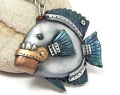 Piranha Pendant Steampunk Faux Metal Teeth Hinged Jaw