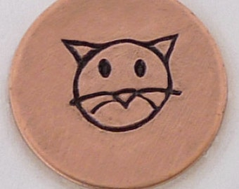 Cat Face Design Stamp-Measures approx 5 mm-Design Stamp-Metal Stamping Supplies for Personalized Jewelry