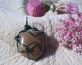 Unakite Pendant, Healing Stone, Wire Wrapped, Copper, Green Epidote and Pink Feldspar Natural Stone, Gemstone Synergy