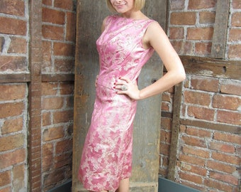1950s Pink Dress/ Silver Lame Dress/ Wiggle Dress w Coverlet