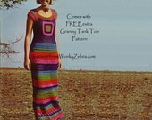 Granny Square Crochet Maxi Dress Vintage Pattern PDF 134 from WonkyZebra