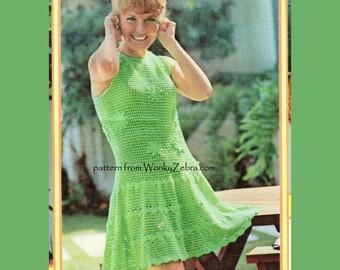 Vintage Crochet Pattern 213 PDF Daisy Dress modeled by Petula Clark