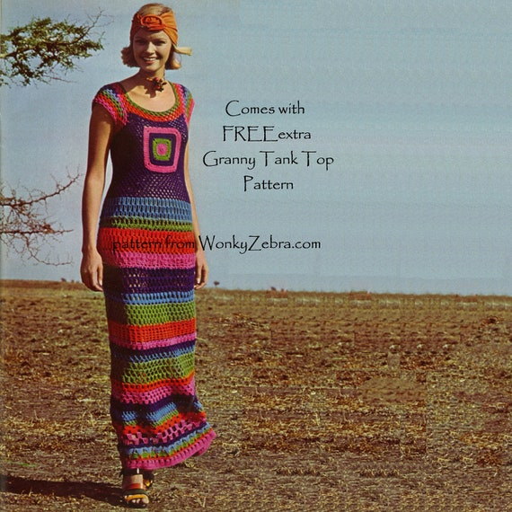 Granny Square Crochet Maxi Dress Vintage Pattern PDF 134 from WonkyZebra