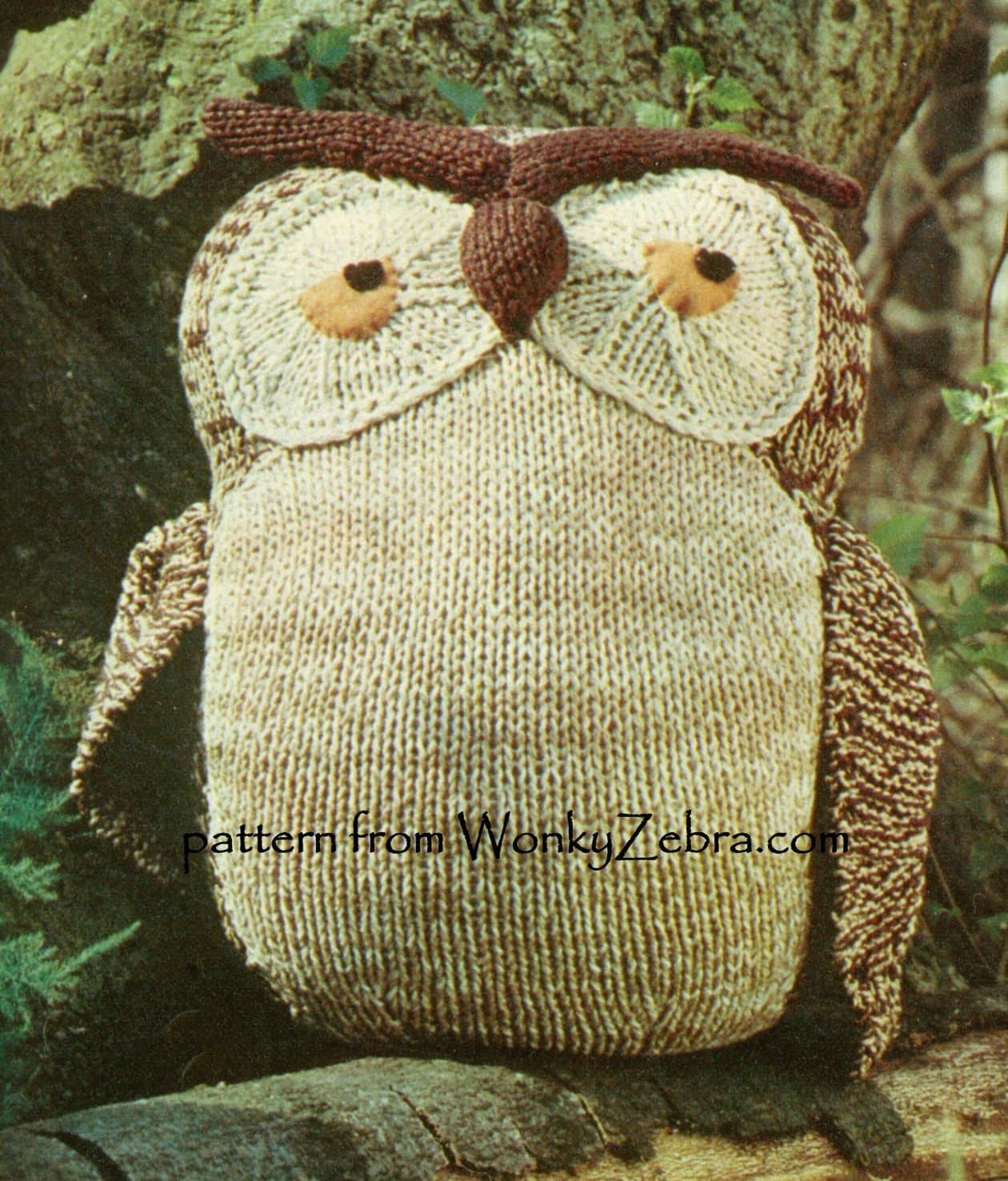 Knitting Pattern For Owl : Vintage Solomon Owl Knit Pattern Knitting Instruction Toy PDF