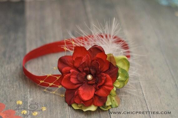 Christmas Holiday  Headband. Red and Green Flower on Red Headband. Baby Headband. Newborn Headband. Newborn Prop. Girls Headband.