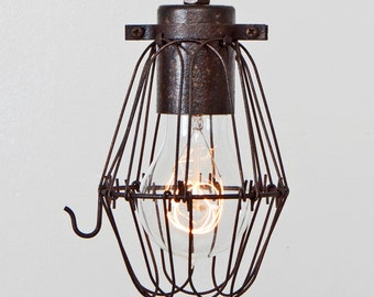 CAGE ONLY Basic Wire Bulb Cage (Pendant Sold Separately) // Trouble Light Pendant Accessory - Ebonized Rust Patina - Vintage Industrial