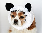 Panda Dog Snood, Stay-Put 3 Rows Elastic Thread, Pet Hat, Long ear covering