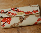 Womens Wallet Birds and Blossoms Fabric