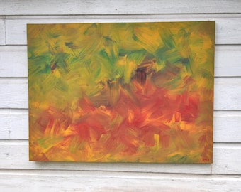 The Big Red Bear large 30 X 40 original painting expressionism abstract modern rustic tropical green yellow red brown
