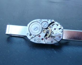 Tie Bar with rare 15 Jewel swiss Made Watch Movements ideal gift for a steampunk lover