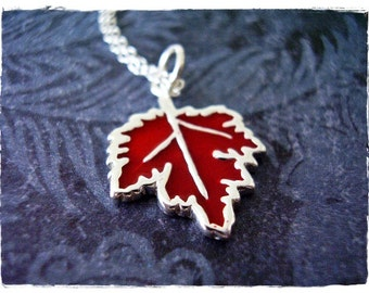 Red Maple Leaf Necklace - Red Enameled Sterling Silver Maple Leaf Charm on a Delicate Sterling Silver Cable Chain or Charm Only
