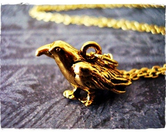 Gold Crow Necklace - Antique Gold Pewter Crow Charm on a Delicate Gold Plated Cable Chain or Charm Only