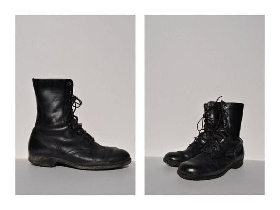 vintage combat boots vintage paratrooper jump military boots leather 9