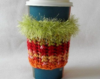 Crochet Coffee Cup Cozy Sleeve Burnt Orange Olive Green Yellow and Red with Eyelash yarn Trim