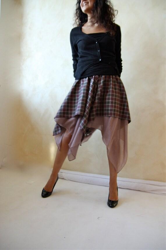 Asymmetrical full circle tartan skirt - layered skirt