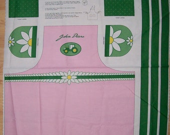 A Wonderful John Deere Daisy Barbecue Tractor Apron Fabric Panel Free US Shipping