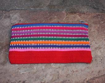 Mexican GYPSY handmade purse grey zipper wallet