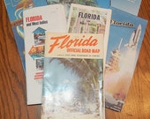 Vintage Florida Road Maps-Set of 8-AAA-Crafts-Furniture-Altered Art-Instant Collection-Home Decor-Shaby Chic