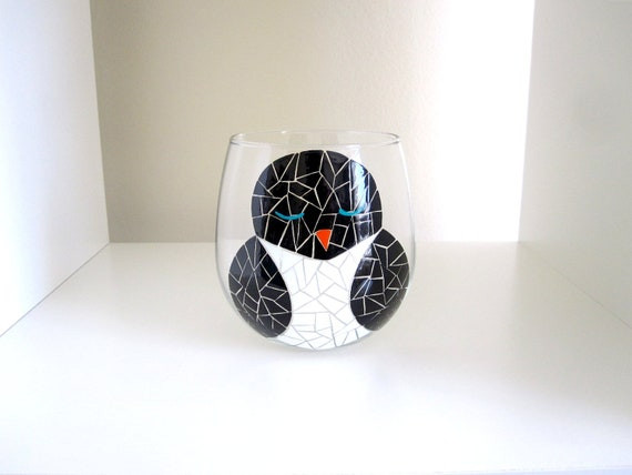 Single Mosaic Black and White Orange Penguin Hand Painted Wine Glass (With Stems or Stemless)
