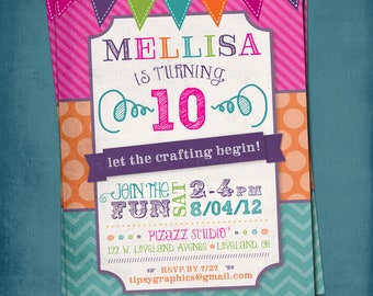 Fun & Colorful Craft Art Birthday Party or Shower Invite by Tipsy Graphics. Any text.