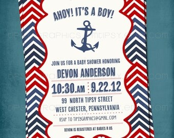 Chevron Nautical Baby Shower or Birthday Invite by Tipsy Graphics. Any text.