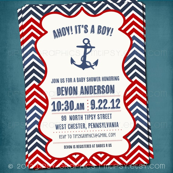 Chevron Nautical Baby Shower or Birthday Invite by Tipsy Graphics. Any ...