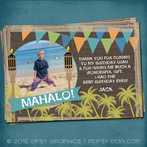 Mahalo. Luau Thank you note for Boys by Tipsy Graphics