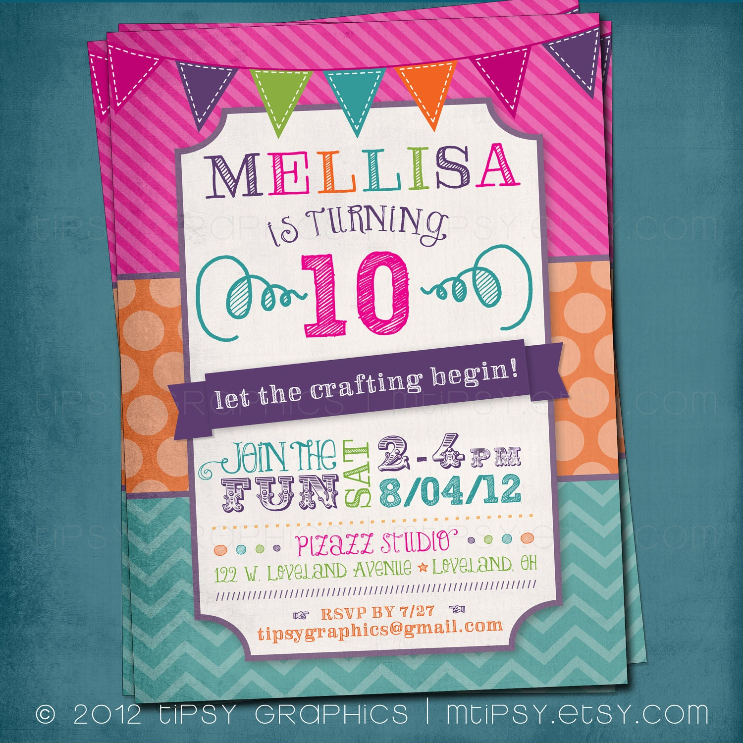 Fun & Colorful Craft Art Birthday Party Or Shower Invite