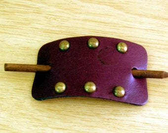 1970s genuine leather Wine color Hair Brooch from Wood Stock era