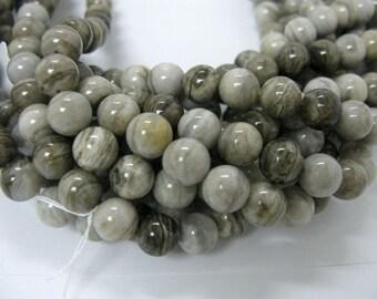 12mm round sliver leaf jasper beads in 16 inch long