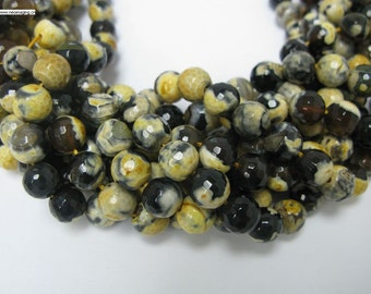 32 pcs yellow black faceted agate in 12mm