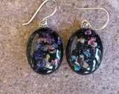 Black Oval Earrings - Fused Glass Earrings