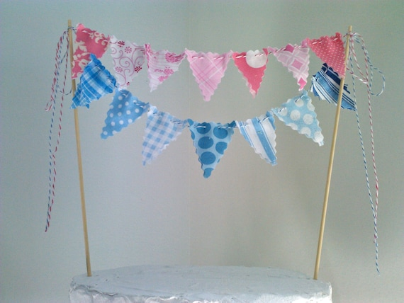 Cake Bunting Topper Pink and Blue Baby Shower, Gender Reveal party