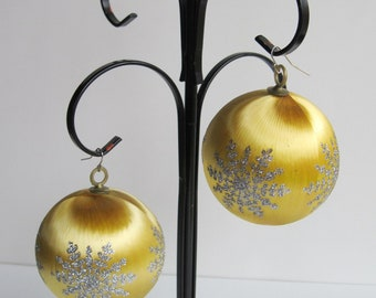 Vintage Large GOLD SATIN Christmas Ornament EARRINGS - Perfect for Ugly Christmas Sweater Party
