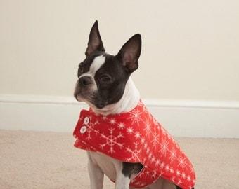 Red Snowflake Fleece Dog Coat