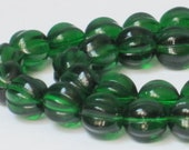 8 x 8 mm Emerald Green Czech Pressed Glass Fluted Round (Full 16 inch strand)  90-6-204