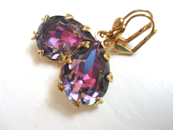 Swarovski Light Rose Vitrail in Gold - Estate Jewelry - Wedding Bridal Earrings - Pink Purple Rhinestones