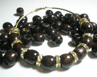 Basketball Wives Earrings Inspired - Dark WOOD Beads - (12 mm) - Brown - 20 pieces