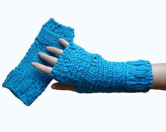 Knit  Turquoise  Fingerless Gloves Mittens Winter Fall