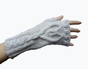 Fingerless Gloves Fingerless Mittens Knit Light Grey Fingerless Gloves Winter Accessories, Valentine's Day, Fall Fashion