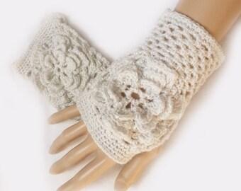 Bridal Gloves, Wedding Gloves, Flower Mittens, White Crochet Fingerless Gloves, Fingerless Mittens, Hand Warmers, Fishnet  Flower