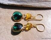 Emerald Green Cut Glass Earrings with Australian Yellow Opal.