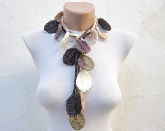 Autumn Leaves Lariat Scarf, Crochet Scarves, Brown, Cream, Crocheted Leaf Jewelry, Fall Necklace, Winter Accessories, Christmas Gift