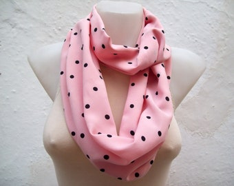 Black Polka Dot Scarf, infinity Scarves, Loop Accessories, Circle, Foulard, Fabric Necklace, Peach  Black