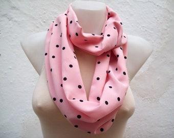 Black Polka Dot Scarf,infinity scarf,Loop scarf,Fabric scarf