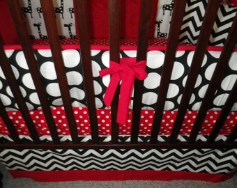 Custom Crib Bedding You Design   Bumper and Bedskirt in Red and Black
