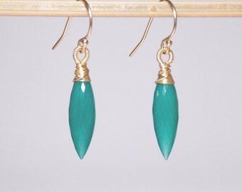 Simple dangle earrings, grade AAA green onyx, 14K gold filled earrings