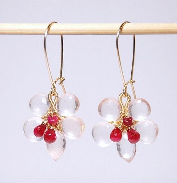 Rose quarts ruby flower earrings- 14K gold filled